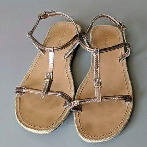 GIORGIO ARMANI Patent Leather T Strap SANDALS